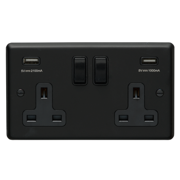 2 Gang Black Switched Plug Socket With USB Charging