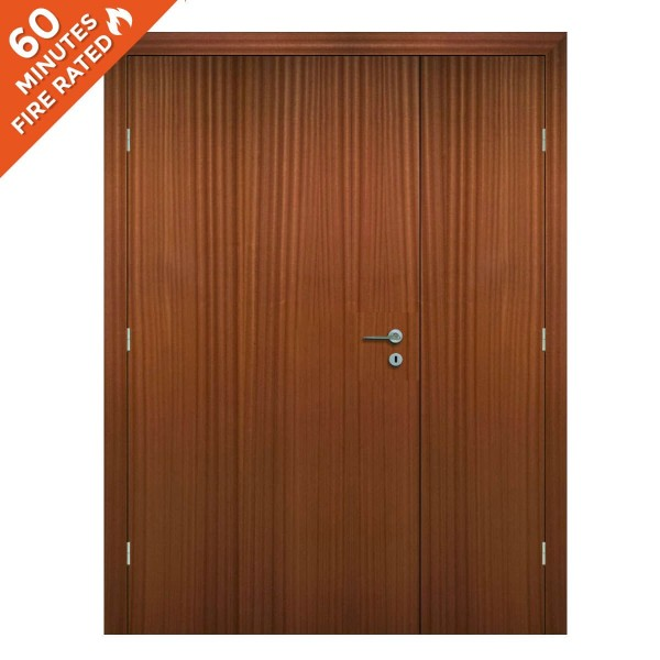 FD60 Sapele double 60 minute fire rated door